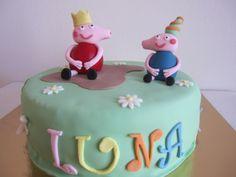 Tarta fondant, cake, peppa pig, niños