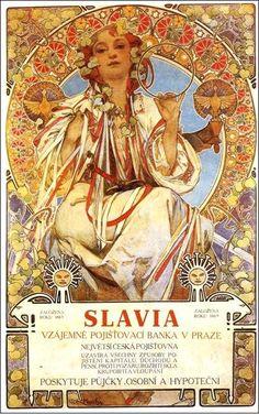 """""""Slavia"""" (1896), Alfonso Mucha (Rep. Checa) - Modernismo"""