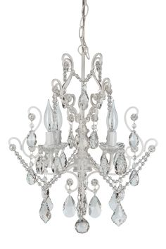 4 Light Mini Crystal Beaded Plug-In Chandelier (White w