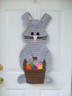 Get Ready for Easter With These 25 Crochet Patterns: Bunny With Basket Door Hanging Crochet Pattern