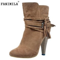 e9947061daa Merumote Women S Round Toe High Heels Fringe Buckle Strap Ankle Booties  Brown Women s Boots