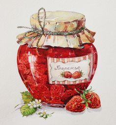 - Food Painting - joli pot de confiture nice jar of jam. Watercolor Food, Watercolor Illustration, Watercolor Paintings, Kawaii Illustration, Watercolour, Cupcake Drawing, Food Painting, Pintura Country, Food Drawing