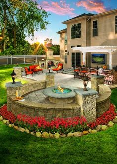 Would you enjoy this outdoor living space in your backyard? Pergolas and fire pi… Would you enjoy this outdoor living space in your backyard? Pergolas and fire pits from Cambridge pavers provide the best designs for relaxation. Backyard Patio Designs, Backyard Pergola, Fire Pit Backyard, Backyard Landscaping, Landscaping Ideas, Backyard Ideas, Outdoor Decking, Diy Patio, Pergola Kits