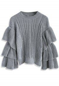 Grey Cable Knit Sweater with Tiered Flare Sleeves