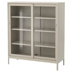 HAVSTA Glass-door cabinet with base, gray, clear glass, 47 - IKEA Glass Cabinet Doors, Sliding Glass Door, Sliding Doors, Glass Doors, Ikea Family, Family Rooms, Tempered Glass Shelves, Scandinavian Furniture