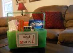 Cough and carry for when someone's got the flu or a bad cold. Such a great idea!