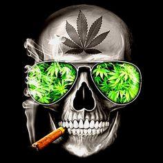 Skull with weed sunglasses and a blunt Cannabis Wallpaper, Weed Wallpaper, Skull Wallpaper, Arte Dope, Dope Art, Dope Kunst, Image Nice, Rasta Art, Arte Dark Souls