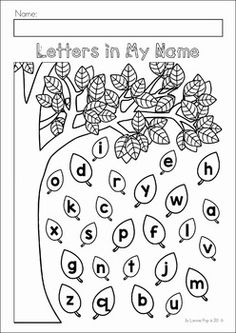Autumn / Fall Preschool No Prep Worksheets & Activities. Color the leaves with the letters in your name.