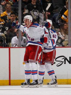 APRIL 22: Kevin Hayes #13 of the New York Rangers celebrates his overtime goal against the Pittsburgh Penguins in Game Four of the Eastern Conference Quarterfinals during the 2015 Stanley Cup Playoffs at Consol Energy Center