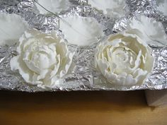 Gum Paste Peony Tutorial: Part 1: http://www.thecakerator.com/2010/08/gum-paste-peony-tutorial-part-1.html