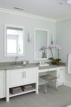 Milton Development: Master bathroom with blue paint color with crisp white bathroom crown molding. White ...
