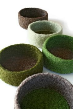 Individual Felted Wool Bowl  Shades of Green by papaververt, $30.00