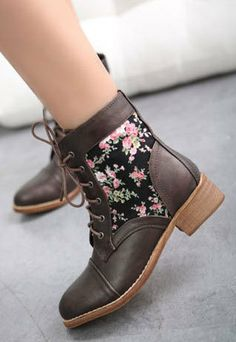 Price:$42.99 Color: Black / Dark Brown Upper Material: PU Lining Material:Cotton Vintage Colorful Floral Print Low Heel Shoes Martin Stitch Combat Boots
