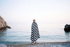 Striped towel on the beach
