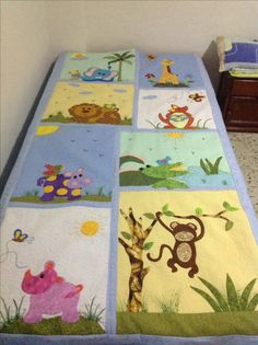Tips for Those Beginning to Crochet Cute Quilts, Boy Quilts, Quilt Block Patterns, Quilt Blocks, Quilting Designs, Machine Embroidery Designs, Plaid Quilt, Patchwork Baby, Animal Quilts