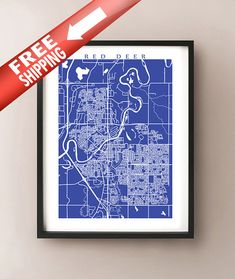 Red Deer Map Print