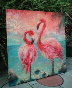 Bird Painting Acrylic, Flamingo Painting, Fox Painting, Flamingo Art, Painting & Drawing, Acrylic Canvas, Painting Lessons, Painting Tips, Acrylic Painting Inspiration