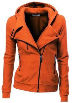 World of Women Fashion: Amazing Orange Comfy Long Sleeves Zip up Jacket Ho...