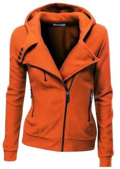 World of Women Fashion: Amazing Orange Comfy Long Sleeves Zip up Jacket Ho...