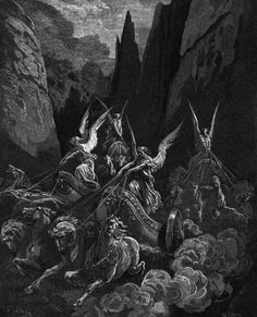 Gustave Doré - Four Horsemen of the Apocalypse, 1865. The Four Horsemen of the Apocalypse are a group of mythical riders described in the Book of Revelation. The Horsemen each ride on a colored horse - white, red, black, and pale - and represent...