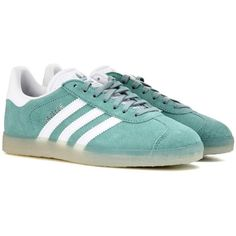 Adidas Originals Gazelle Suede Sneakers ($115) ❤ liked on Polyvore featuring shoes, sneakers, green, adidas originals sneakers, suede sneakers, adidas originals, green shoes and green suede shoes