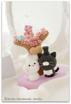 Lovely cat and kitty Wedding Cake Topper