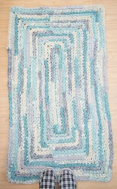 Aqua Gray and Cream Rectangle Runner Rug by ErinLynnDesigns