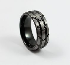 Black Tungsten Tire Tread Design with Brushed Silver, Free Custom Engraving Included!