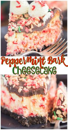 This Peppermint Bark Cheesecake features an Oreo cookie crust, a thick layer of smooth, creamy white chocolate cheesecake, it's chock-full of peppermint chips, and finishes with a layer of semi-sweet chocolate ganache on top.
