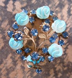 50s Blue Roses Vintage Pin - Delicate Silver Wreath Jewellery Brooch - Twining Leaves - Sparkling Vines. $30.00, via Etsy.