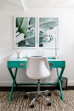 The banana leaf photo prints are from Etsy, and the desk & desk lamp are from Joss and Main. Sarah's chair is from HomeGoods.