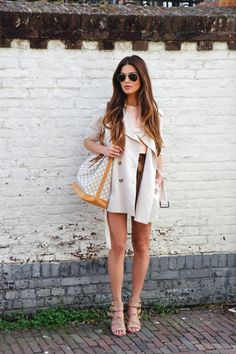 Spring Transitioning - Negin wearing a Zara Top, Classic Trenchcoat, River Island Sandals and Louis Vuitton Noe Bag.