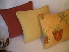 Decor cushions, throw pillows, tuscan look, 30cm x30 cm, yellow, rust, flowers