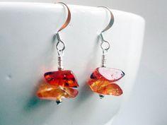 Amber earrings nuggets resin burnt orange by handmadeintoronto, $12.00