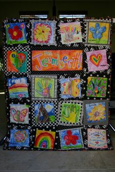 """Teacher QUilt ~ Great idea for kids drawings! The students could put one word that describes their teacher, then draw the picture to reflect that word... i.e """"Love"""" with a picture of a heart, etc. Send home the fabric & markers with the students to complete at home."""
