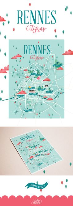 Illustrated map of Rennes - Print - Atelier Mouette - Graphics Plan Ville, Format A3, Design Graphique, Freelance Illustrator, Paper Cutting, Packaging Design, Illustrated Maps, Collage, Design Inspiration
