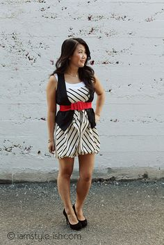Tiffany wearing our Ivory Striped Dress.