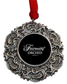 Custom Christmas Ornament with the Fairmont Hotel Logo  Great Hotel gift designed by Classic Legacy.