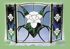 Magnolia design.  #stainedglass #flower #nature #artsy #beautiful #elegant #custom #homedecor #decor #fireplace #screen