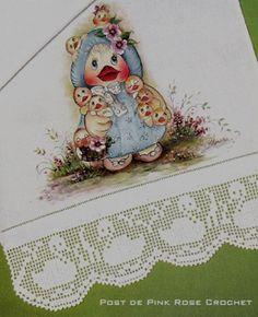 \ PINK ROSE CROCHET /: Barra Patinhos em Crochê Filê