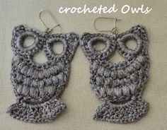 Crocheted Owl Earrings - @KD Eustaquio Geiszler Job have you seen these?