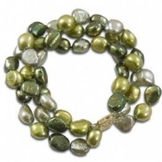 """14K 9-10mm dyed multi green baroque freshwater cultured pearl three strand bracelet, 7.5"""" Security Jewelers. $226.00 Strand Bracelet, Baroque, Jewelry Bracelets, Pearl, Jewels, Green, Bead, Jewerly, Gemstones"""