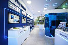 Sony PlayStation store by studio IMA, Sejong - South Korea Stand Design, Booth Design, Showroom Interior Design, Phone Shop, Retail Merchandising, Mobile Shop, Retail Design, Home Appliances, Store