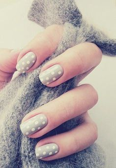 Grey polka dots nails                                                       …