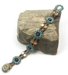 SUPERDUO CZECHMATE TILE Flower Bracelet-Pearl Coat Teal