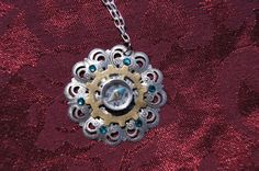 Steam punk compass necklace on etsy