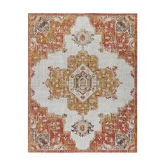 Gertmenian & Sons Vinca Vidal Ivory/Terra 8 ft. x 10 ft. Global Indoor/Outdoor Area Rug 19773 - The Home Depot Rug Material, Indoor Outdoor Area Rugs, Rectangle Shape, Online Home Decor Stores, Color Trends, Colorful Rugs, Rug Size, Bloomsbury, Ivory