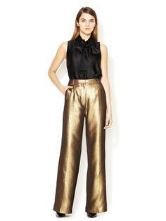 3.1 Phillip Lim High Waisted Metallic A-Line Trouser