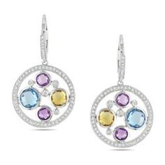 Miadora 14k Gold Multi-gemstone and 3/4ct TDW Diamond Earrings (G-H, SI1-SI2) | Overstock.com
