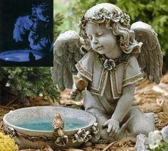 14 Joseph's Studio Solar Powered Bird Bath Angel Outdoor Garden Statue 6918530   ChristmasCentral